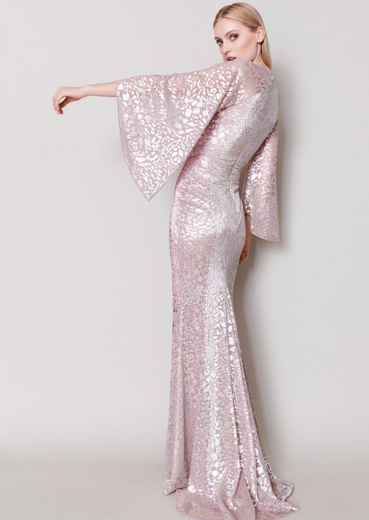Langes Abendkleid silber glamour schwarz Hochzei s Gast elegant